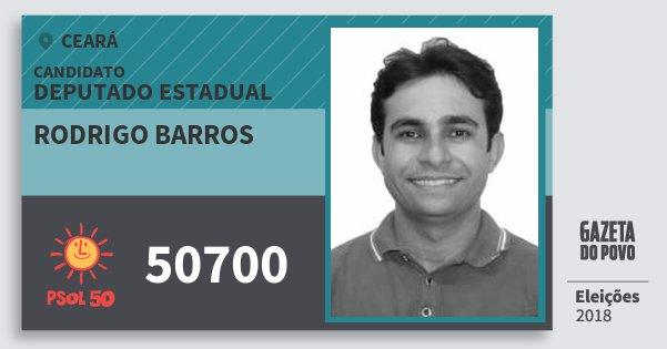 Santinho Rodrigo Barros 50700 (PSOL) Deputado Estadual | Ceará | Eleições 2018
