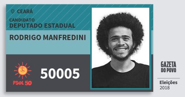 Santinho Rodrigo Manfredini 50005 (PSOL) Deputado Estadual | Ceará | Eleições 2018