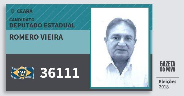 Santinho Romero Vieira 36111 (PTC) Deputado Estadual | Ceará | Eleições 2018