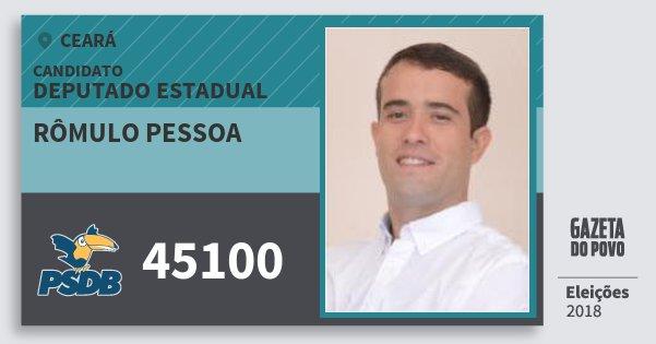 Santinho Rômulo Pessoa 45100 (PSDB) Deputado Estadual | Ceará | Eleições 2018