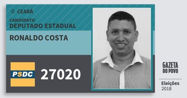 Santinho Ronaldo Costa 27020 (DC) Deputado Estadual | Ceará | Eleições 2018