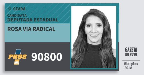 Santinho Rosa Via Radical 90800 (PROS) Deputada Estadual | Ceará | Eleições 2018