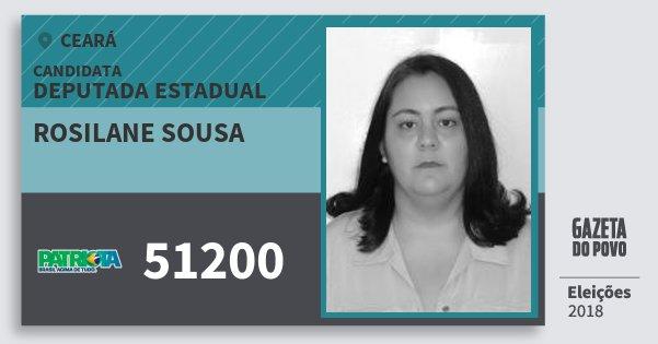 Santinho Rosilane Sousa 51200 (PATRI) Deputada Estadual | Ceará | Eleições 2018