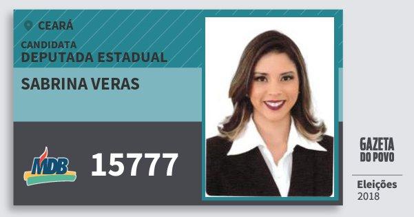 Santinho Sabrina Veras 15777 (MDB) Deputada Estadual | Ceará | Eleições 2018