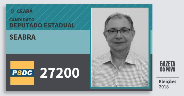 Santinho Seabra 27200 (DC) Deputado Estadual | Ceará | Eleições 2018