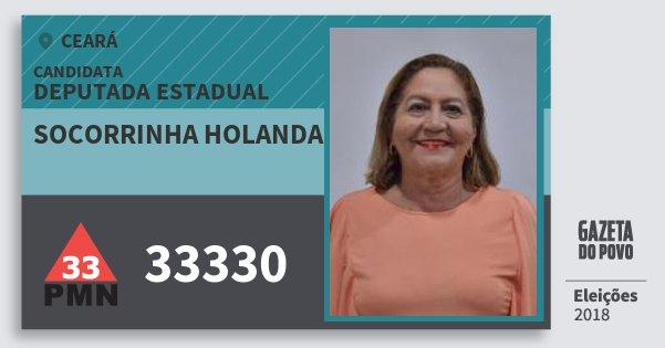 Santinho Socorrinha Holanda 33330 (PMN) Deputada Estadual | Ceará | Eleições 2018
