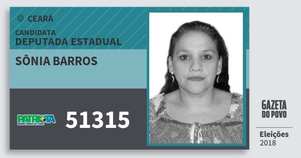 Santinho Sônia Barros 51315 (PATRI) Deputada Estadual | Ceará | Eleições 2018