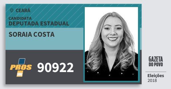 Santinho Soraia Costa 90922 (PROS) Deputada Estadual | Ceará | Eleições 2018