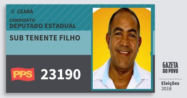 Santinho Sub Tenente Filho 23190 (PPS) Deputado Estadual | Ceará | Eleições 2018