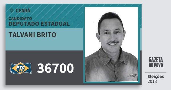 Santinho Talvani Brito 36700 (PTC) Deputado Estadual | Ceará | Eleições 2018