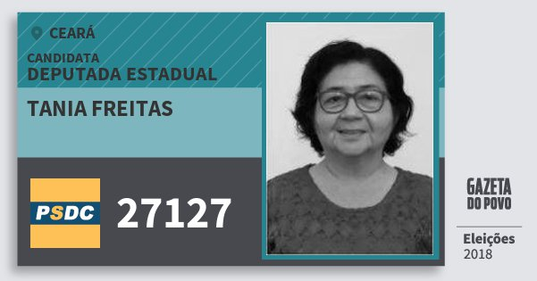 Santinho Tania Freitas 27127 (DC) Deputada Estadual | Ceará | Eleições 2018