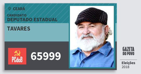 Santinho Tavares 65999 (PC do B) Deputado Estadual | Ceará | Eleições 2018
