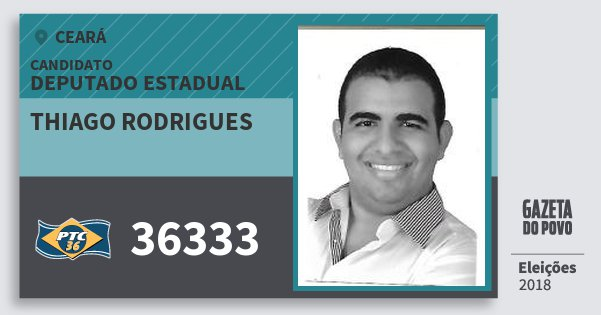 Santinho Thiago Rodrigues 36333 (PTC) Deputado Estadual | Ceará | Eleições 2018