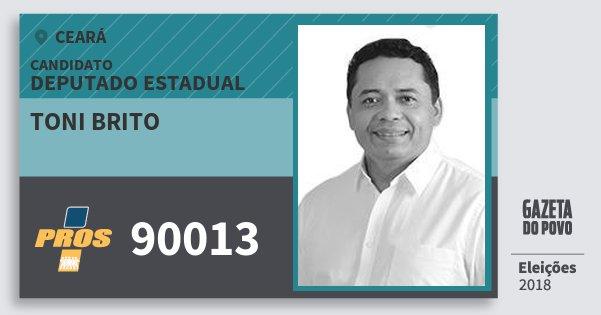 Santinho Toni Brito 90013 (PROS) Deputado Estadual | Ceará | Eleições 2018