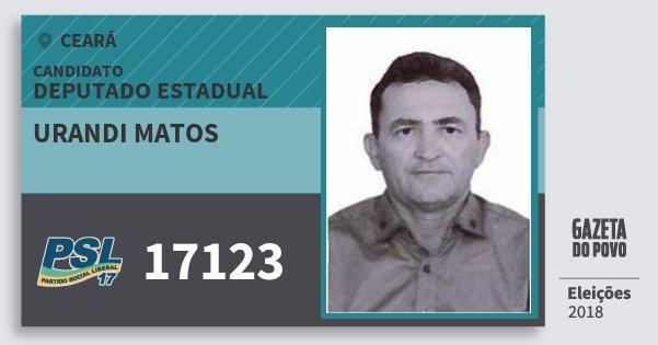 Santinho Urandi Matos 17123 (PSL) Deputado Estadual | Ceará | Eleições 2018