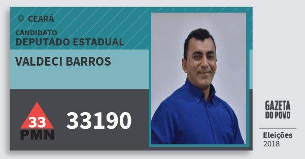 Santinho Valdeci Barros 33190 (PMN) Deputado Estadual | Ceará | Eleições 2018