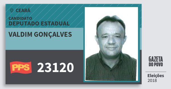 Santinho Valdim Gonçalves 23120 (PPS) Deputado Estadual | Ceará | Eleições 2018