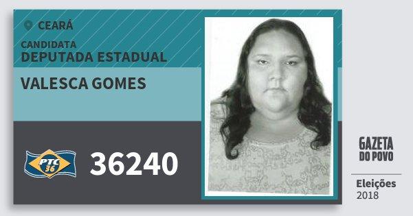 Santinho Valesca Gomes 36240 (PTC) Deputada Estadual | Ceará | Eleições 2018