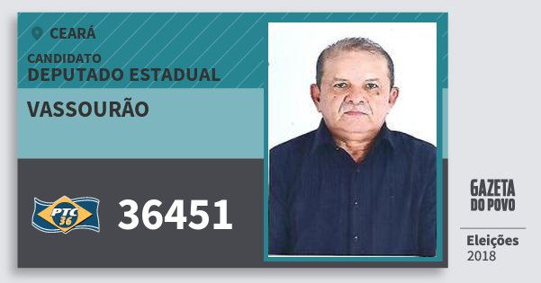 Santinho Vassourão 36451 (PTC) Deputado Estadual | Ceará | Eleições 2018