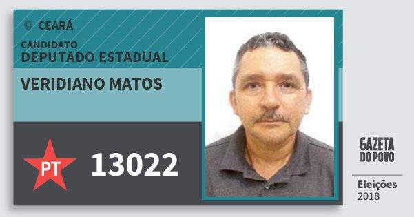 Santinho Veridiano Matos 13022 (PT) Deputado Estadual | Ceará | Eleições 2018