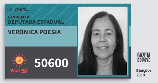 Santinho Verônica Poesia 50600 (PSOL) Deputada Estadual | Ceará | Eleições 2018