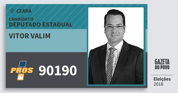 Santinho Vitor Valim 90190 (PROS) Deputado Estadual | Ceará | Eleições 2018