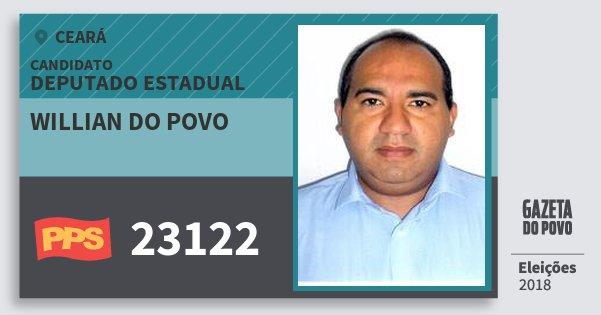 Santinho Willian do Povo 23122 (PPS) Deputado Estadual | Ceará | Eleições 2018