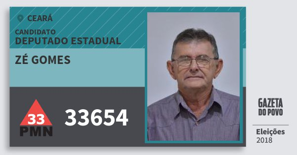 Santinho Zé Gomes 33654 (PMN) Deputado Estadual | Ceará | Eleições 2018