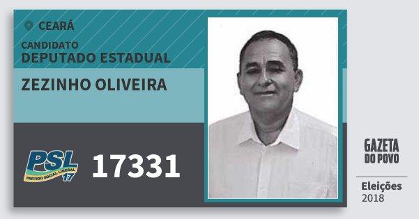 Santinho Zezinho Oliveira 17331 (PSL) Deputado Estadual | Ceará | Eleições 2018