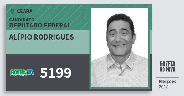 Santinho Alípio Rodrigues 5199 (PATRI) Deputado Federal | Ceará | Eleições 2018