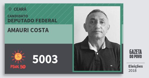 Santinho Amauri Costa 5003 (PSOL) Deputado Federal | Ceará | Eleições 2018