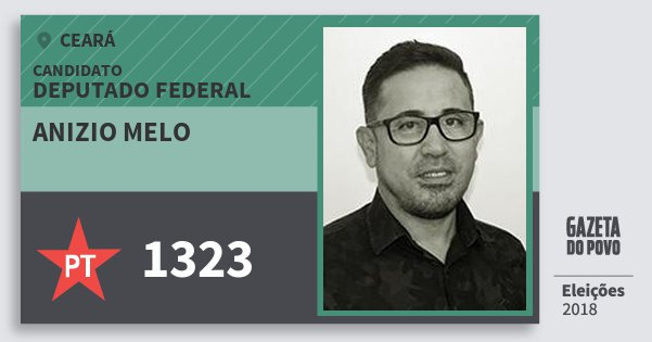 Santinho Anizio Melo 1323 (PT) Deputado Federal | Ceará | Eleições 2018