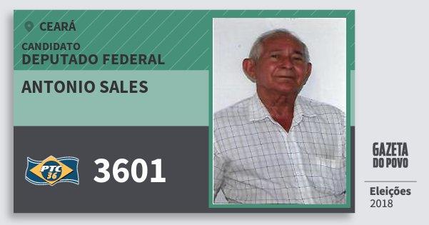 Santinho Antonio Sales 3601 (PTC) Deputado Federal | Ceará | Eleições 2018