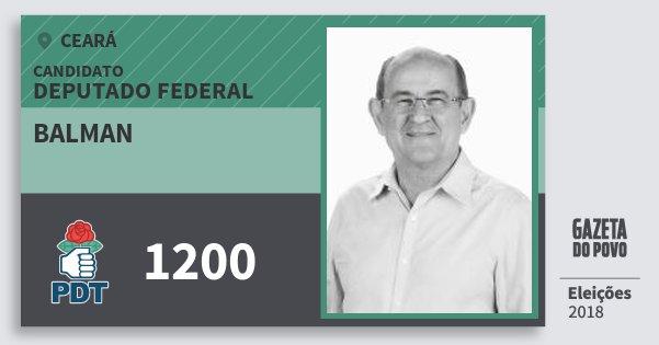 Santinho Balman 1200 (PDT) Deputado Federal | Ceará | Eleições 2018