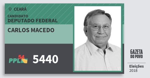 Santinho Carlos Macedo 5440 (PPL) Deputado Federal | Ceará | Eleições 2018