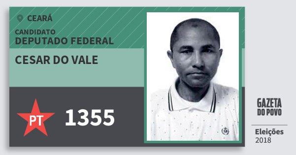 Santinho Cesar do Vale 1355 (PT) Deputado Federal | Ceará | Eleições 2018