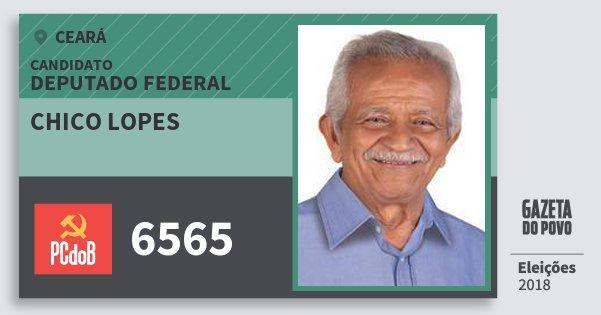 Santinho Chico Lopes 6565 (PC do B) Deputado Federal | Ceará | Eleições 2018