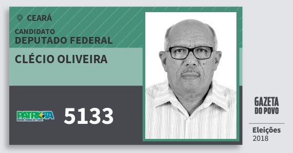 Santinho Clécio Oliveira 5133 (PATRI) Deputado Federal | Ceará | Eleições 2018