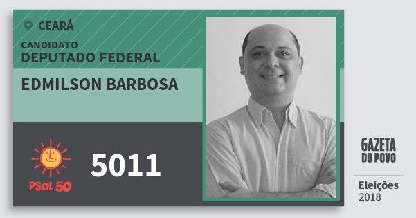 Santinho Edmilson Barbosa 5011 (PSOL) Deputado Federal | Ceará | Eleições 2018