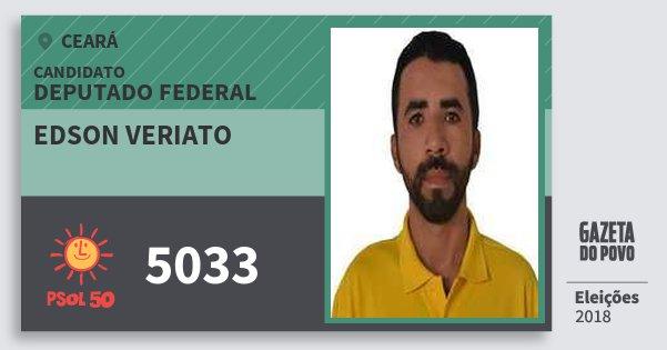 Santinho Edson Veriato 5033 (PSOL) Deputado Federal | Ceará | Eleições 2018