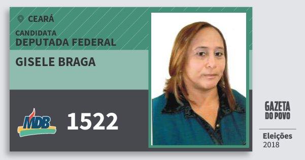 Santinho Gisele Braga 1522 (MDB) Deputada Federal | Ceará | Eleições 2018