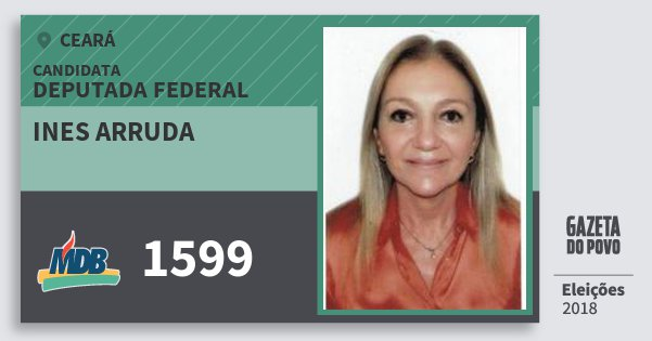 Santinho Ines Arruda 1599 (MDB) Deputada Federal | Ceará | Eleições 2018