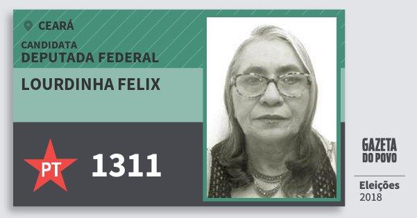 Santinho Lourdinha Felix 1311 (PT) Deputada Federal | Ceará | Eleições 2018