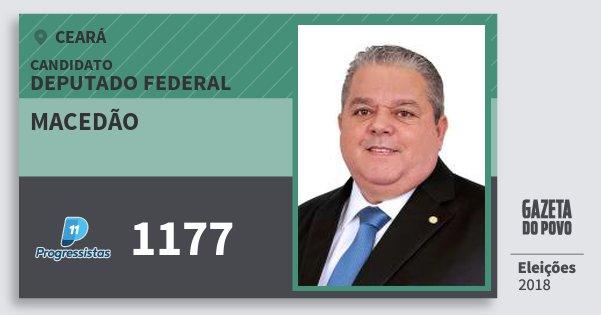 Santinho Macedão 1177 (PP) Deputado Federal | Ceará | Eleições 2018