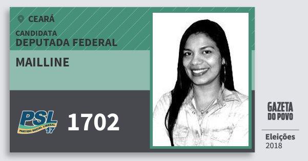 Santinho Mailline 1702 (PSL) Deputada Federal | Ceará | Eleições 2018