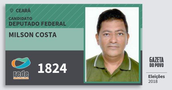 Santinho Milson Costa 1824 (REDE) Deputado Federal | Ceará | Eleições 2018