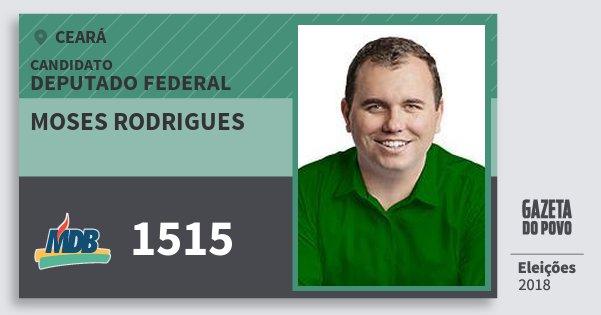Santinho Moses Rodrigues 1515 (MDB) Deputado Federal | Ceará | Eleições 2018