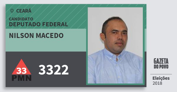 Santinho Nilson Macedo 3322 (PMN) Deputado Federal | Ceará | Eleições 2018