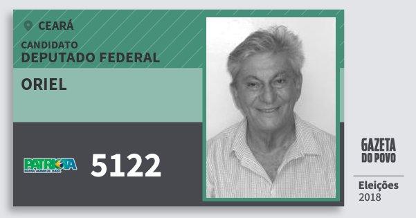 Santinho Oriel 5122 (PATRI) Deputado Federal | Ceará | Eleições 2018
