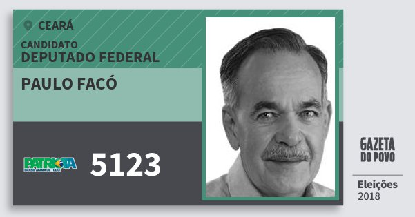 Santinho Paulo Facó 5123 (PATRI) Deputado Federal | Ceará | Eleições 2018